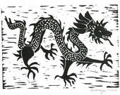 Black Chinese dragon linocut print 5x7 black original block print art Asian dragon folk art