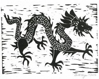 Chinese dragon linocut, 5x7  original block print, black Asian dragon folk art, hand pulled print, dancing dragon, primitive art