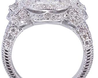 18K White Gold Round Cut Diamond Engagement Ring Deco Halo 2.80ctw H-VS2 EGL USA