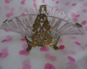 "Bride's Glass Bowl set in a  Metal Basket - 7"" across -"