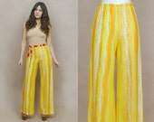 70s Palazzo Pants Psychedelic Print Striped Yellow Orange High Waised Boho Wide Leg Pants 1970s Hippie Bell Bottoms / Size M Medium