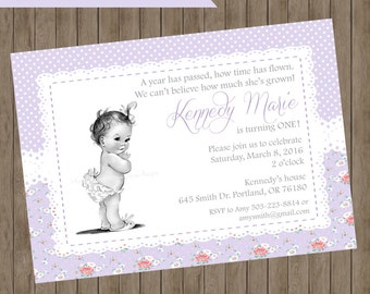 Lavender and Lace First Birthday Invitation - PRINTABLE
