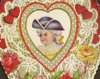 Large Heart Shaped Vintage Valentine's Day Card – Colonial Man Lace and Roses – Fabulously Romantic