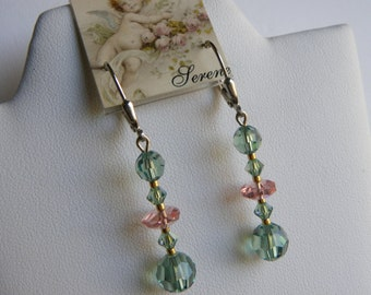 Rare Rose Cut Pink Crystals with Green Swarovski, Green Earrings, Irish Erinite Green