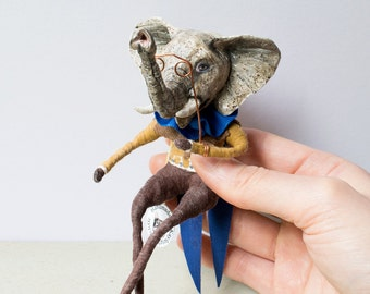 Elephant with his opera glasses OOAK Spun cotton art doll