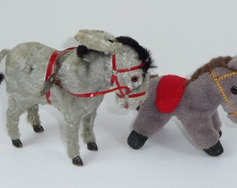 Vintage Pair of Donkey Toys 1 Wind-Up with Key 1 Wool Plush
