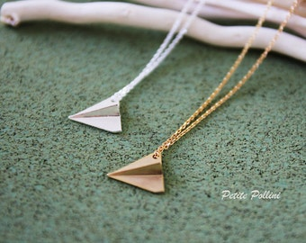 Paper Plane Origami Necklace in Matt Silver/ Gold. Whimsical and Fun. Cute. Unisex (PNL-42)