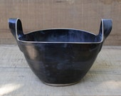 black basket, two handled black basket, black ceramic basket