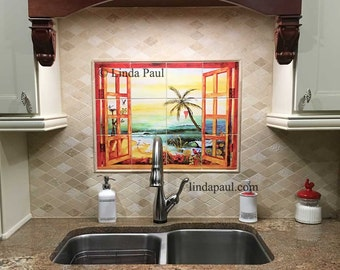 Tropical Paradise  Kitchen Tile Backsplash Mural