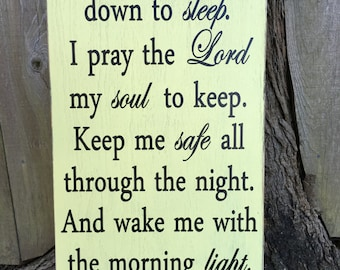 Now I lay me down to sleep sign,Fixer Upper Inspired, rustic Wood Signs, Farmhouse Signs, Wall Décor