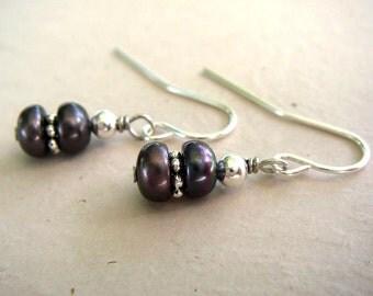 Dark Grey Freshwater Pearl Earrings