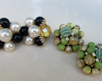 Beaded Vintage Earrings Two Pairs of Cluster Beaded Clip on Earrings Black and White and Light Blue Greens Plastic Cluster Beaded Clips