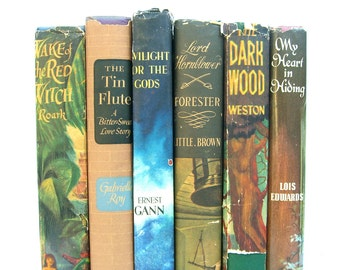 Vintage Book Collection, Action Adventure Romance Colorful Dust Jackets, Noir 1940s 1950s, Instant Library