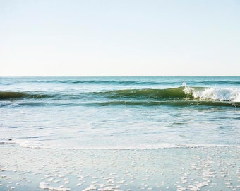 "Ocean Wave Photograph, Malibu Beach California,  Crashing Wave, Shoreline, Coastal Print, Aqua Green Turquoise Blue ""Waves Crash"""