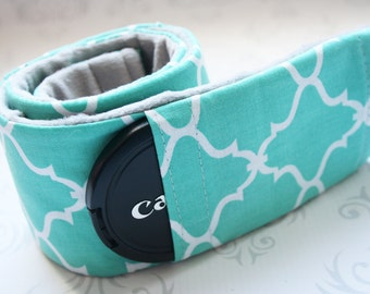 Camera Strap Cover with Lens Cap Pocket, Padded Minky, Nikon, Canon, DSLR, Wedding, Photographer Gift - Aqua Moroccan Tile with Gray