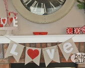 Valentine's Day Love Heart red and white Glitter Burlap linen fabric Banner Bunting -decor - mantel banner or great for photo props