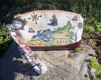 Clematis Wristlet in Old World Map Traveler with Faux Leather Accents