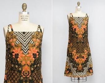 Criss Cross Dress S • Batik Dress • Cotton Summer Dress • 70s Dress • Wiggle Dress • Tribal Dress • Boho Dress • Cotton Sundress | D946