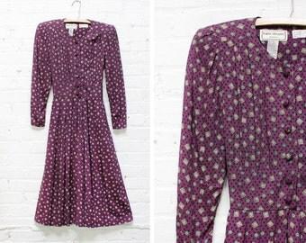 Long Sleeve Dress XS/S • Purple Print Flare Skirt Dress Small • Karin Stevens Dress | D343