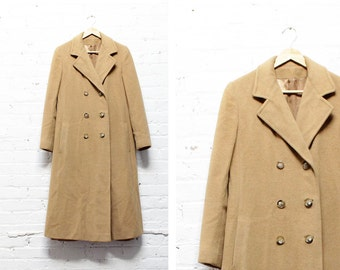 Bonwit Teller Camel Coat M • Camel Hair Coat • Double Breasted Coat • Women's Trench Coat | O191