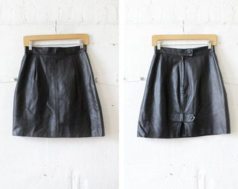 Black Leather Mini Skirt S • High Waisted Mini Skirt • Black Mini Skirt • Flared Mini Skirt • 80s Punk Skirt | SK471