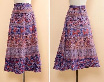 Indian Wrap Skirt • Boho Maxi Skirt • Soft Cotton Elephant Print Skirt • 70s Wrap Skirt • Maxi Wrap Skirt • Purple Print Skirt   SK524