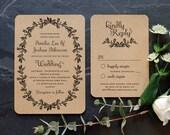 Rustic Recycled Wedding Invitation / 'Vintage Wreath' Elegant Botanical Modern Vintage Invite  / Kraft Manilla Brown Card / ONE SAMPLE