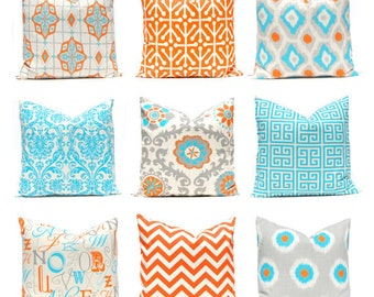 Decorative Throw Pillow Cover - One Orange and Turquoise on Natural - Orange Pillow Covers - 20 x 20 Inches - Chevron Pillow Covers