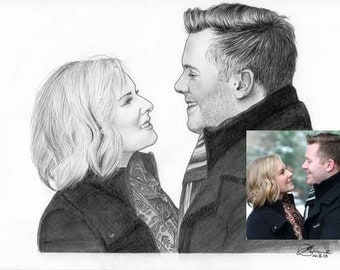 A5 Personalised Hand drawn Illustration - Paint the Moment - 2 people