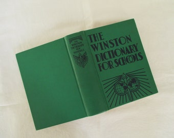 Vintage 1950's School Dictionary - Eclectic Decor - Green - Old School - Reference