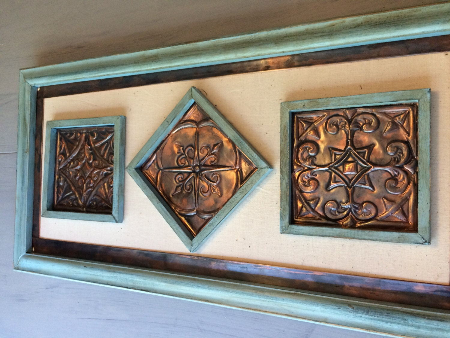 Copper wall art hand made embossed original unique wall Unique wall art