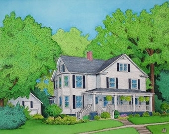 11x14 Custom Home Drawing and Watercolor
