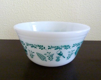 Vintage Federal Glass Mixing Bowl - Utensil Pattern  - Collectible Kitchen Ware