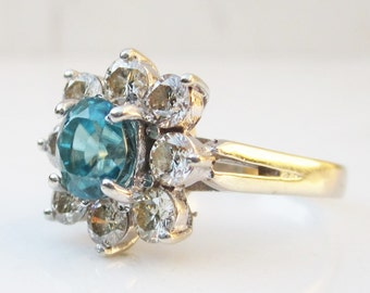Vintage 14k White Gold Diamond And Blue Zircon Flower Halo Engagement Ring with 3.09 Carats Total Gem Weight, Size 6