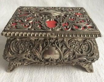 Vintage jewelry box  ornate metal jewelry box