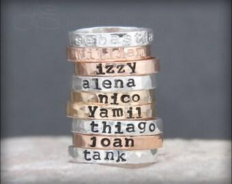 Hand Stamped NAME RING - posey ring, posie ring, mother's ring, hand stamped stacking ring, stacking ring, stacked ring