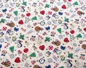 Cute Christmas Quilting Cotton Fabric Small Print 1 Yard