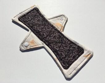 10 Inch Cloth Menstrual Pad Regular Flow All Mixed Up Black Floral