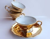 Small Gold Tea cups - Vintage Bavarian porcelain tea espresso cups, tea for two