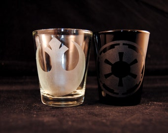Rebel Alliance and Empire shot glass set