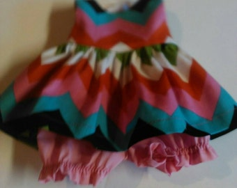 "Baby Alive  And Waldorf Doll Clothes Adorable Dress 10"" 12"" Or 15"" Multi Chevron"
