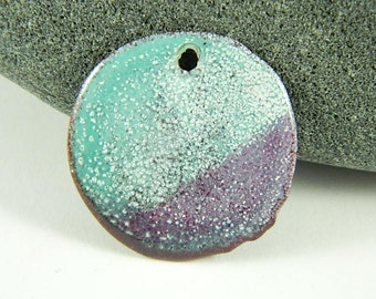 Turquoise, Purple and White  Torch Enameled Pendant