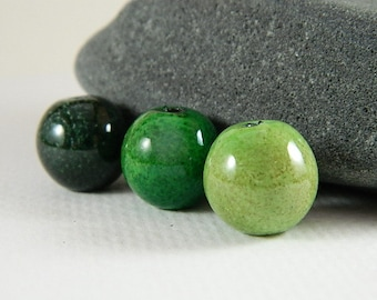 Enameled  Bead Set in Greens