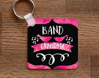Band Grandma - Pink Music and Birds Themed Keychain