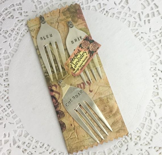 Fork Cheese Markers, Hand Stamped Vintage Forks, Bleu, Brie, Cheddar - Gift Set of 3
