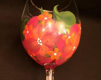 Hand Painted Wine Glass - Island Mango w Orange-Pink Posies