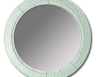 Round Mirror, Glass Mirror, Green Mirror, Green Glass Mirror, Decorative Mirror, Mirror, 18-Inch Mirror, Stained Glass Mirror