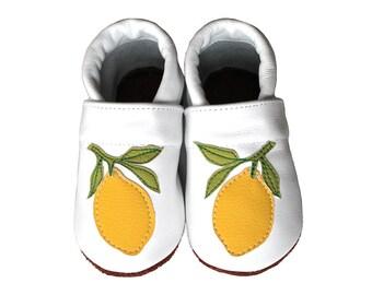 Leather Baby Booties, Lemon, Baby Shoes, Infant Newborn Nursery Children YellowBeige White