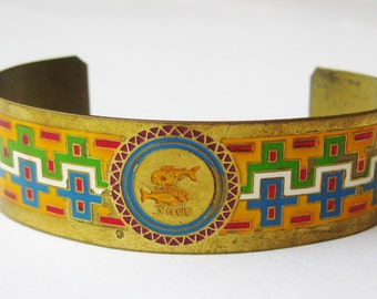 Vintage 40s Brass Enamel Zodiac Pisces Cuff Bracelet Large