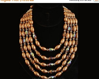 Dramatic 1950s Mocha Glass & Pearls Five-Strand Necklace #35562-1